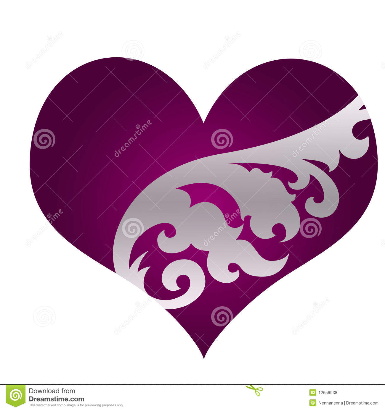 Beautiful purple heart with ornament stock illustration beautiful purple heart with ornament buycottarizona