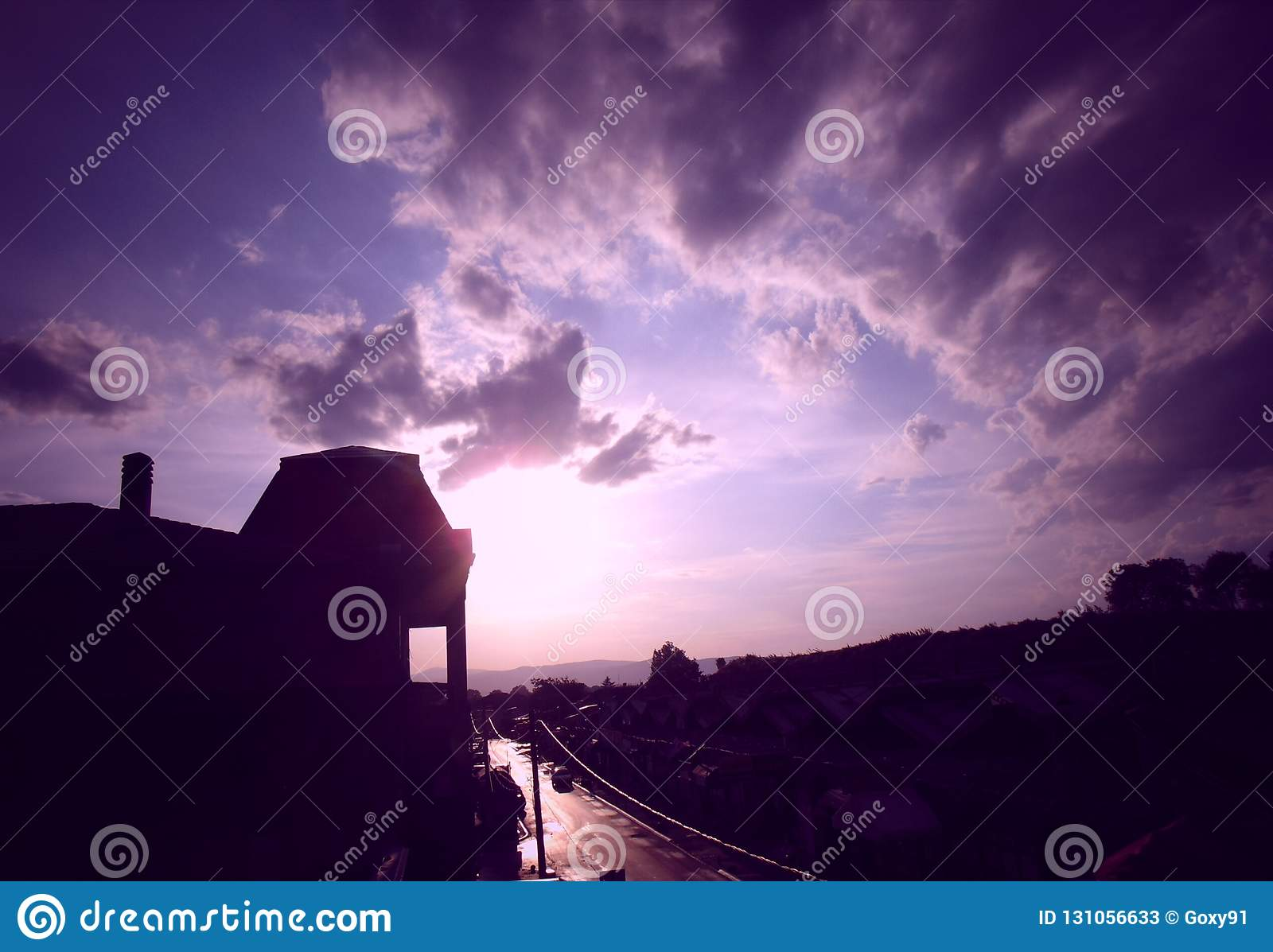 Beautiful Sunset Above The City Stock Image Image Of Beautiful Sunset 131056633