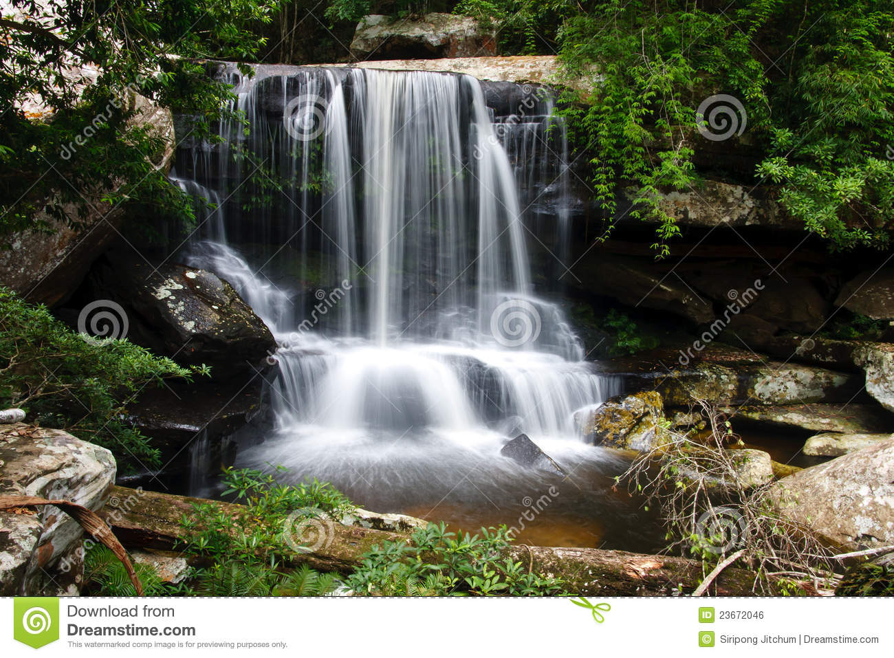 Beautiful Rain Forest And Waterfall Stock Photo Image Of Countryside Outdoor 23672046