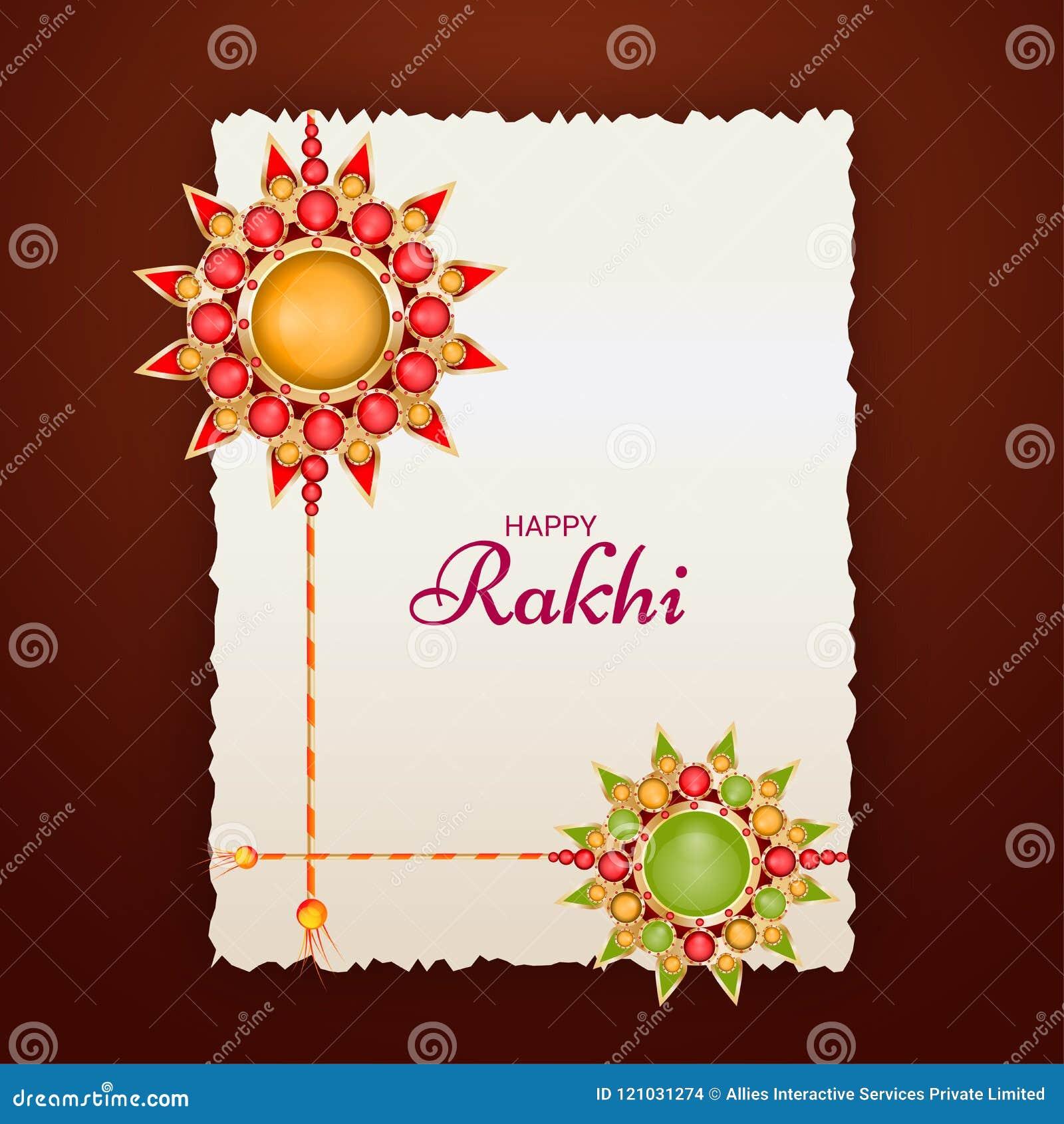 beautiful rakhi wristband design on white greeting card