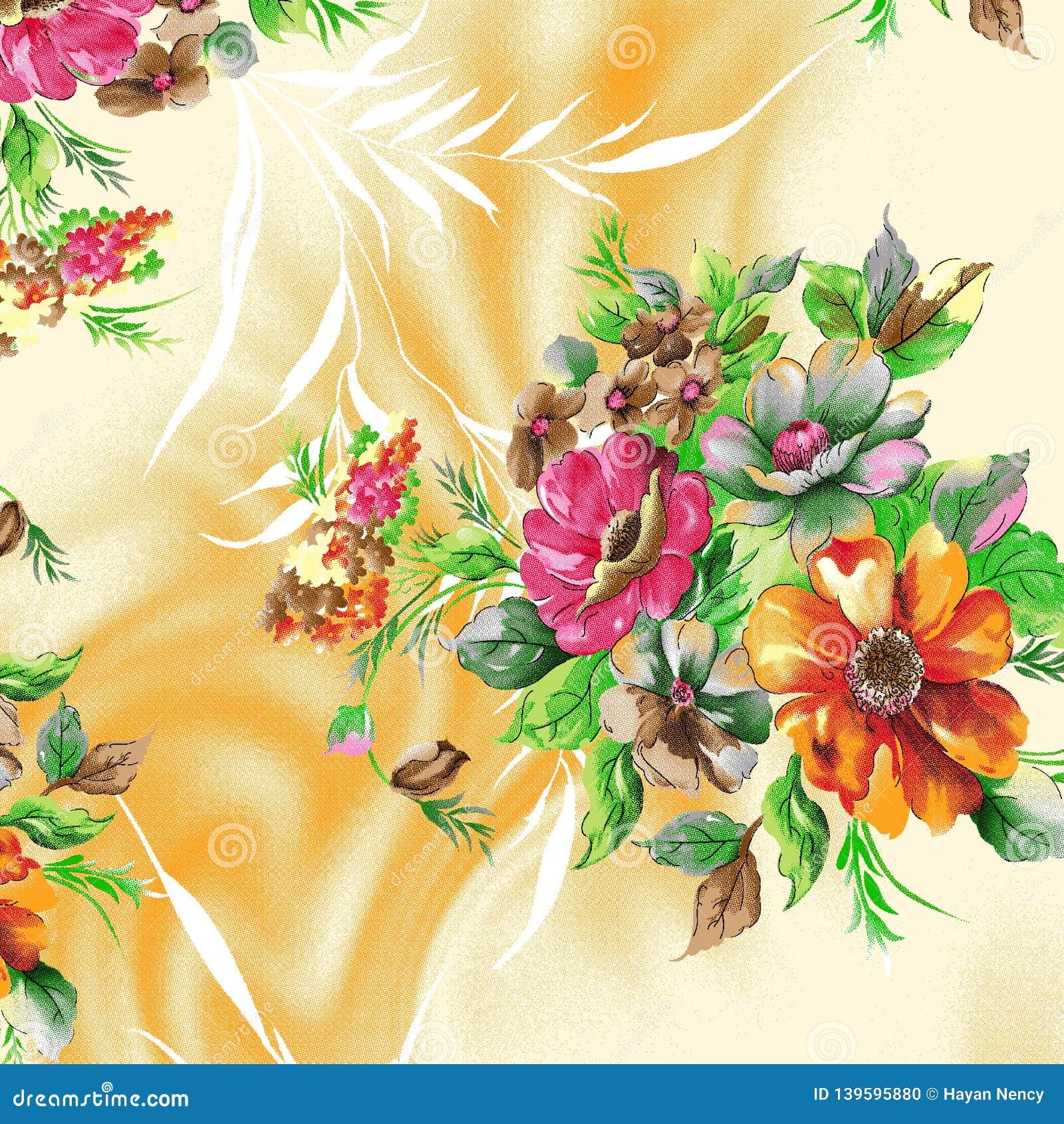 Beautiful raster pattern with nice watercolor digital flowers