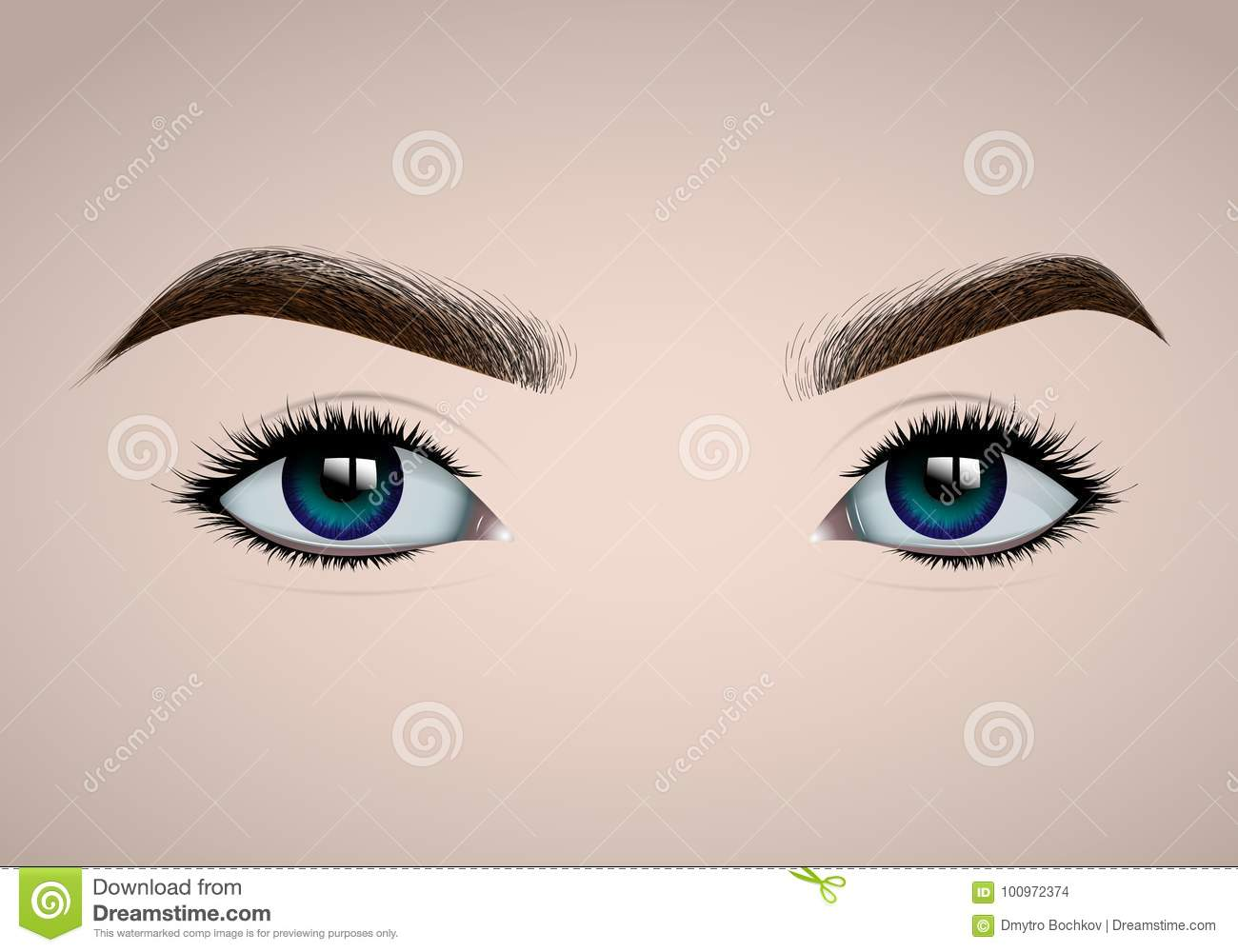 Beautiful realistic female eyes and eyebrows for fashion design