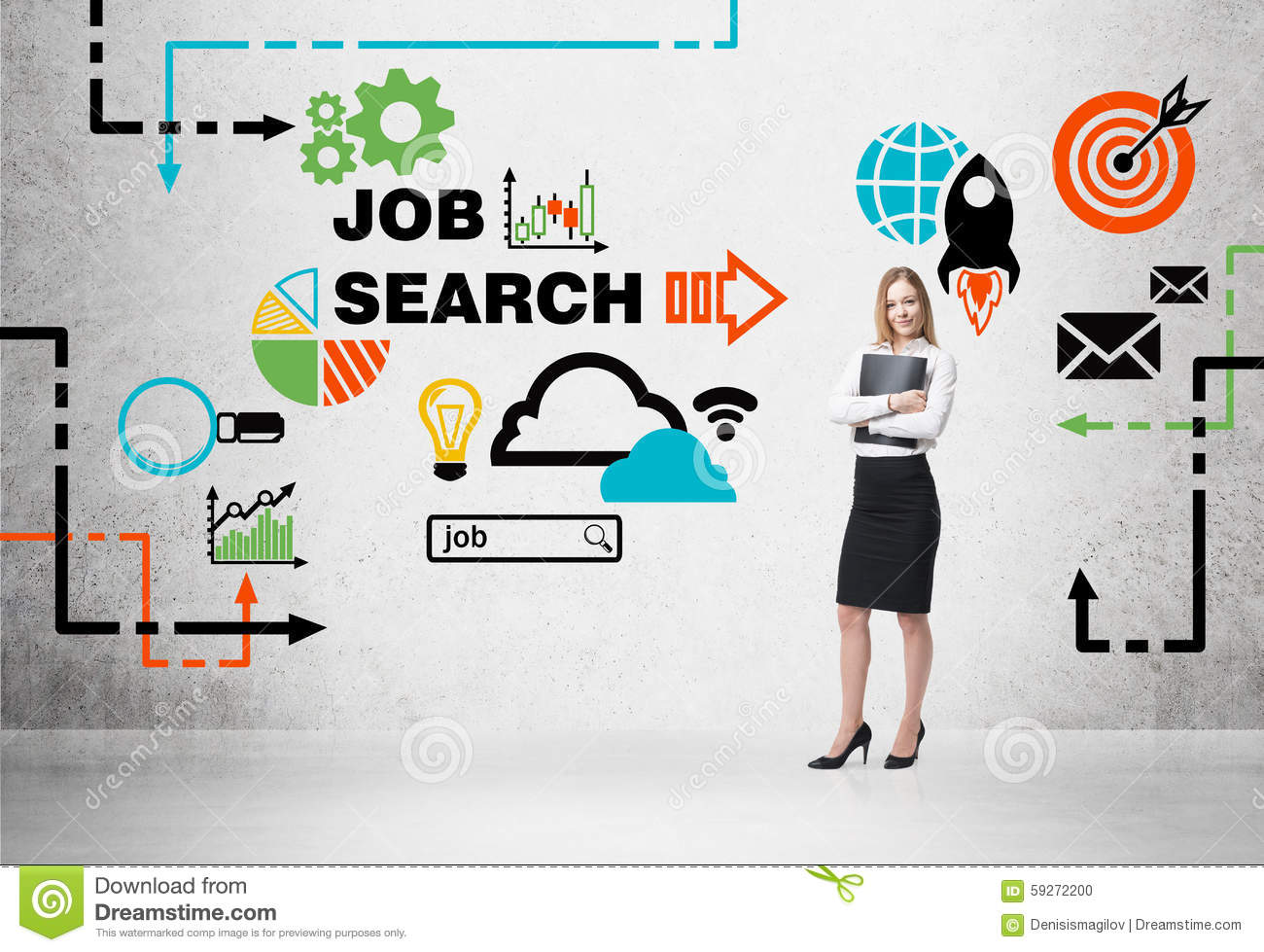 beautiful recruiter agent with black folder is looking for
