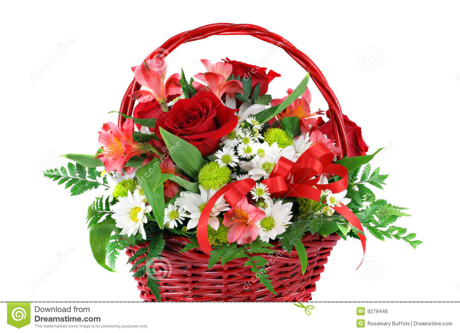 Beautiful Red Basket Flower Arrangement Royalty Free Stock