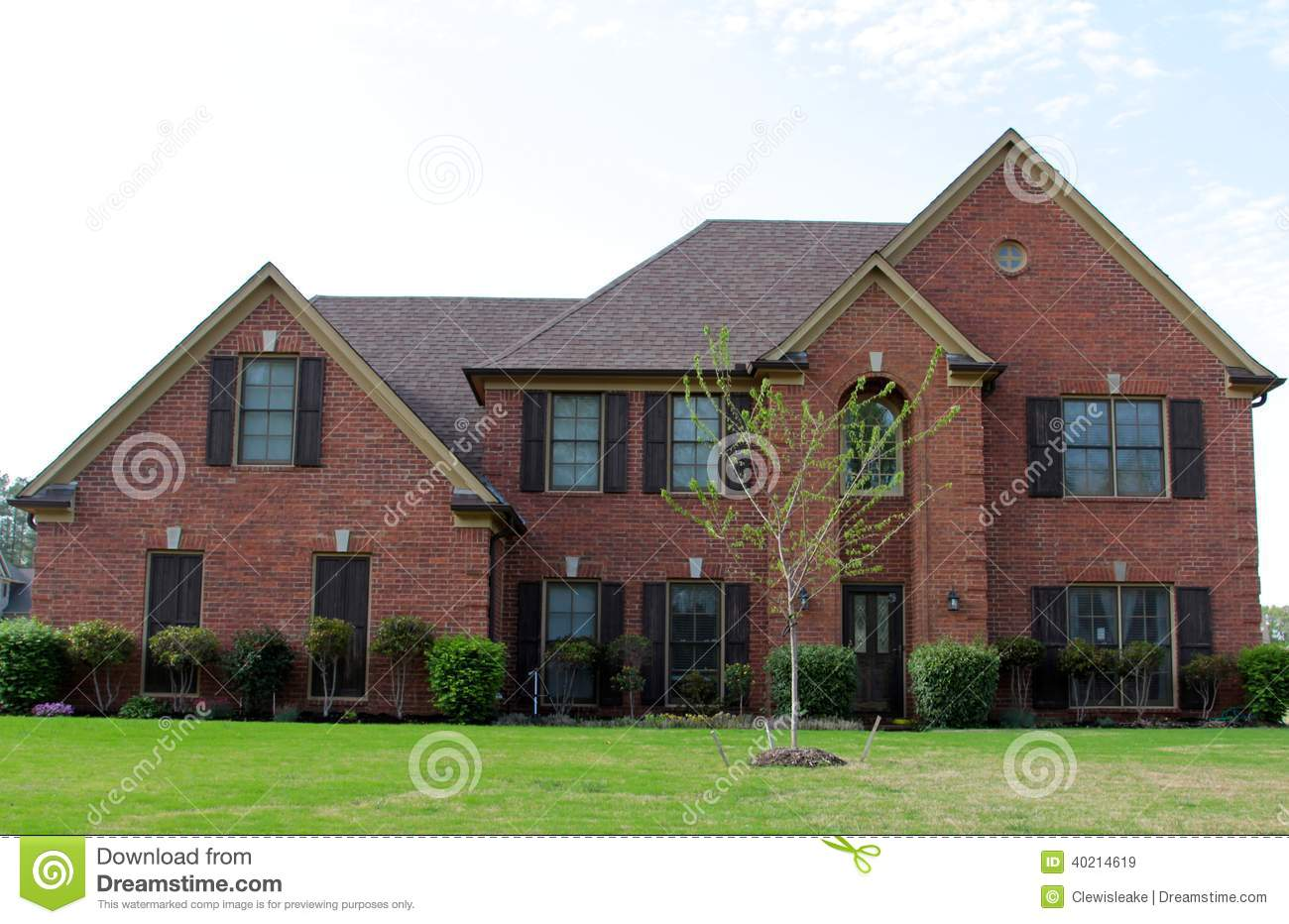 Beautiful Red Brick Residential Home Stock Photo Image