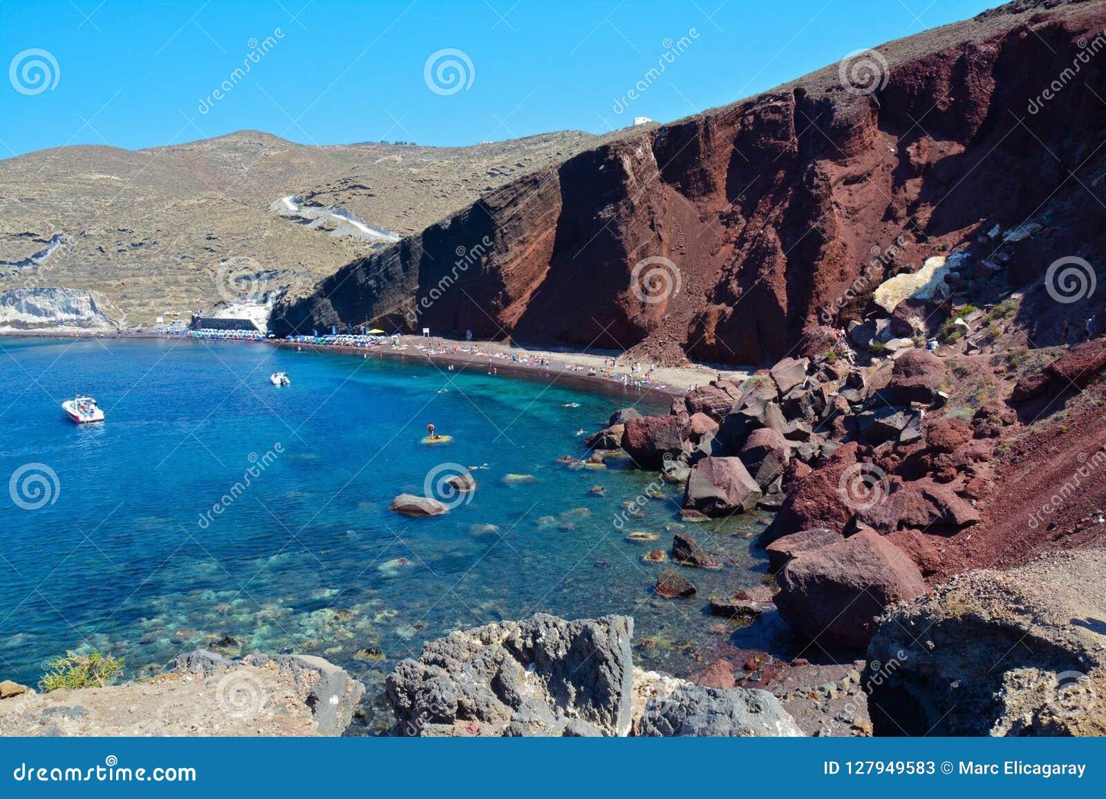 Red Beach In Santorini Greece Stock Image Image Of Deep