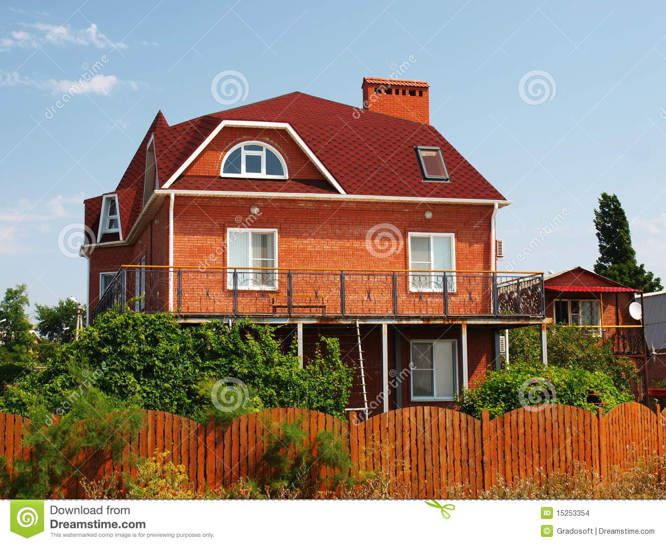 Beautiful Red Cottage In The Resort Stock Images Image