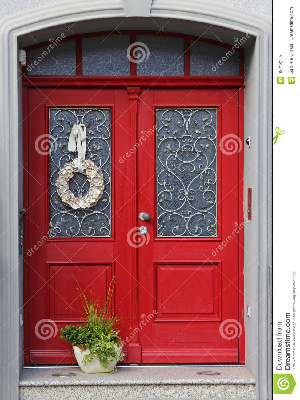 Beautiful Red Double Entrance Door Stock Image Image Of Glass