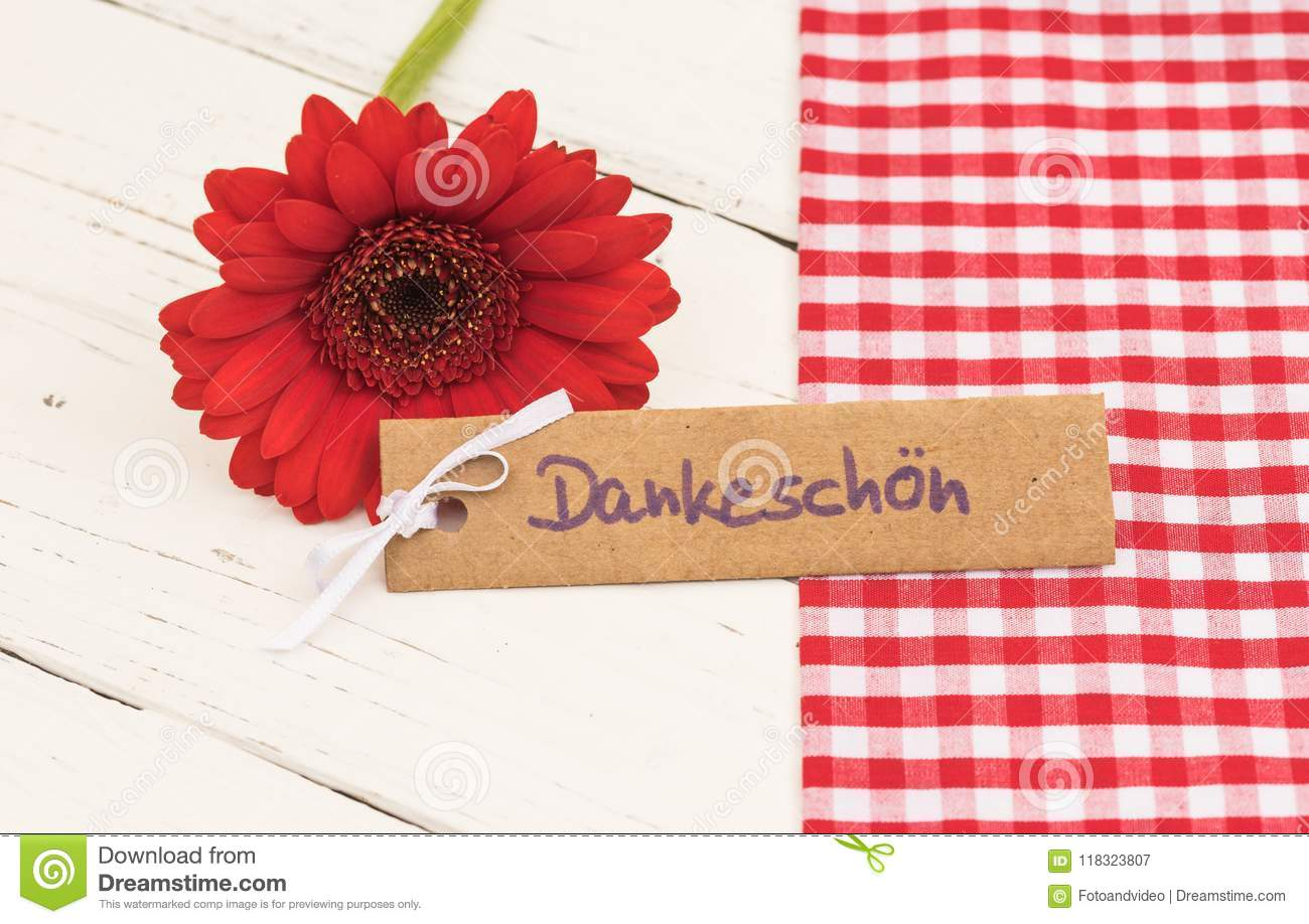 Red Flower With Greeting Card With With German Word Dankeschoen