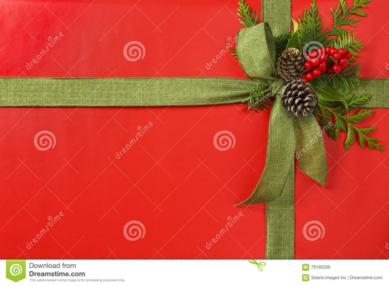 Beautiful red and green Christmas gift present with fabric ribbon bow and botanical decorations. Horizontal background border.
