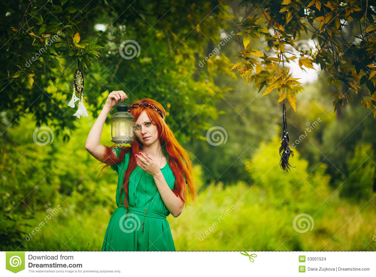 Beautiful Red Hair Girl With Deep Green Eyes Stock Photo