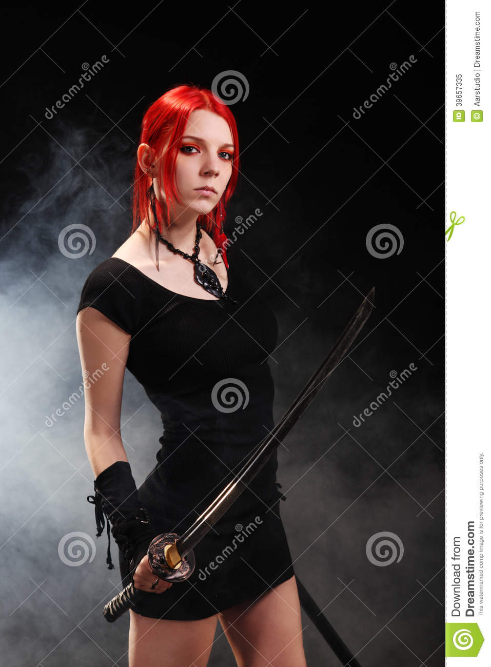 Girl With The Blog: Beautiful Red Hair Girl With Katana Sword Stock Photo