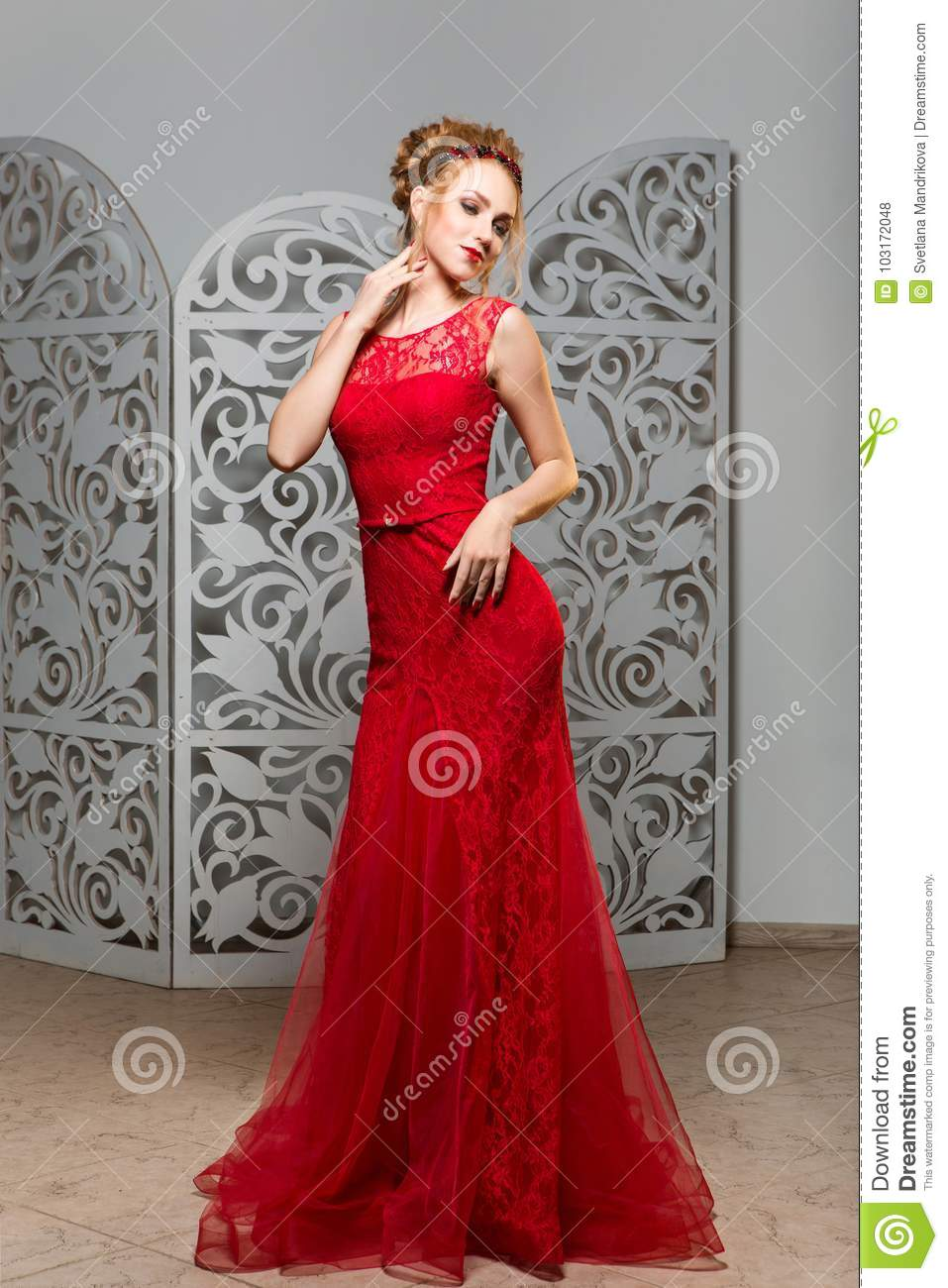 Beautiful Girl In Wedding Gown Stock Photo Image Of