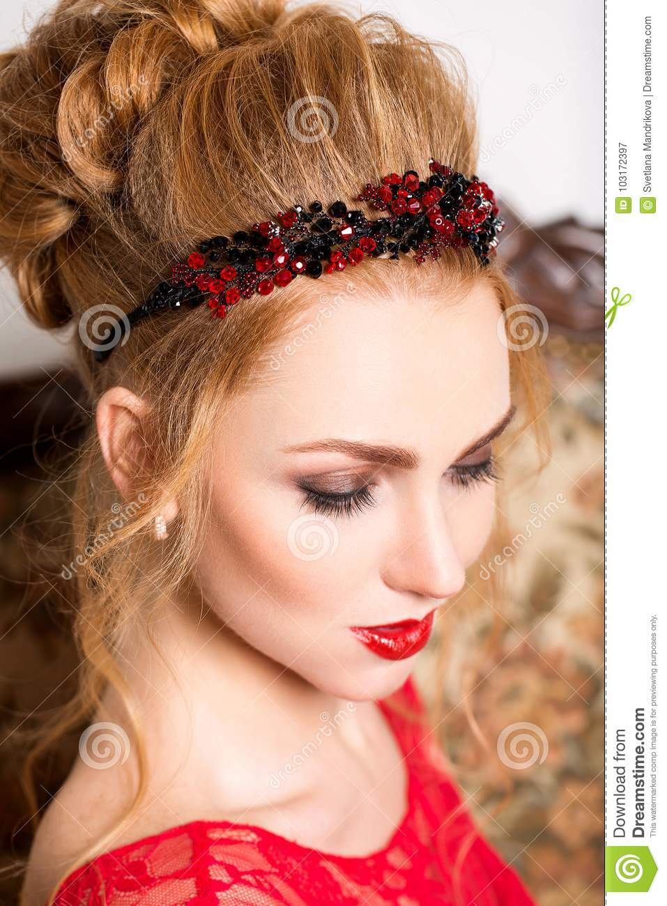 Beautiful Girl In Wedding Gown Stock Image Image Of