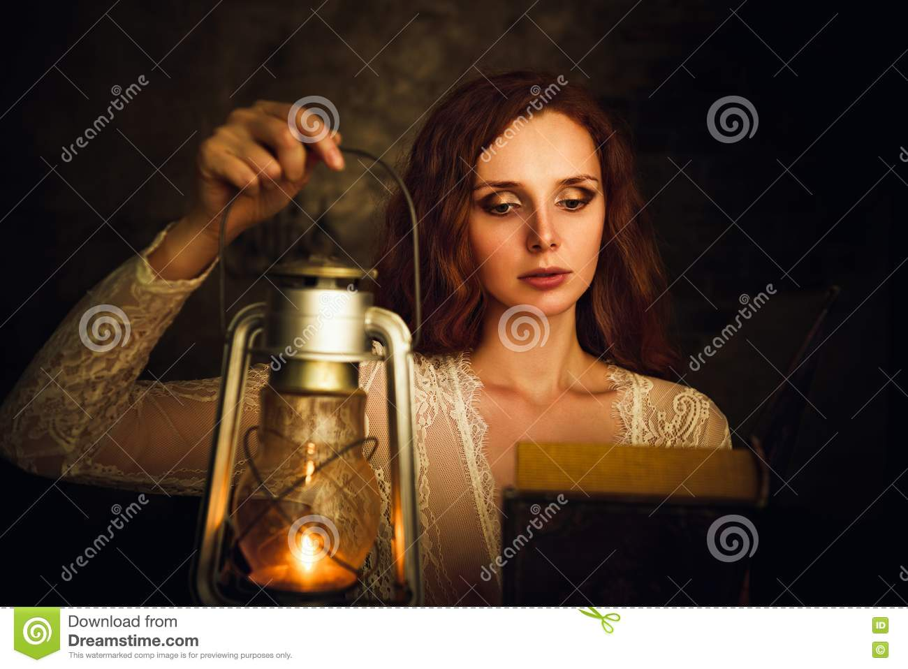 Beautiful Red-haired Young Woman With Kerosene Lamp ...
