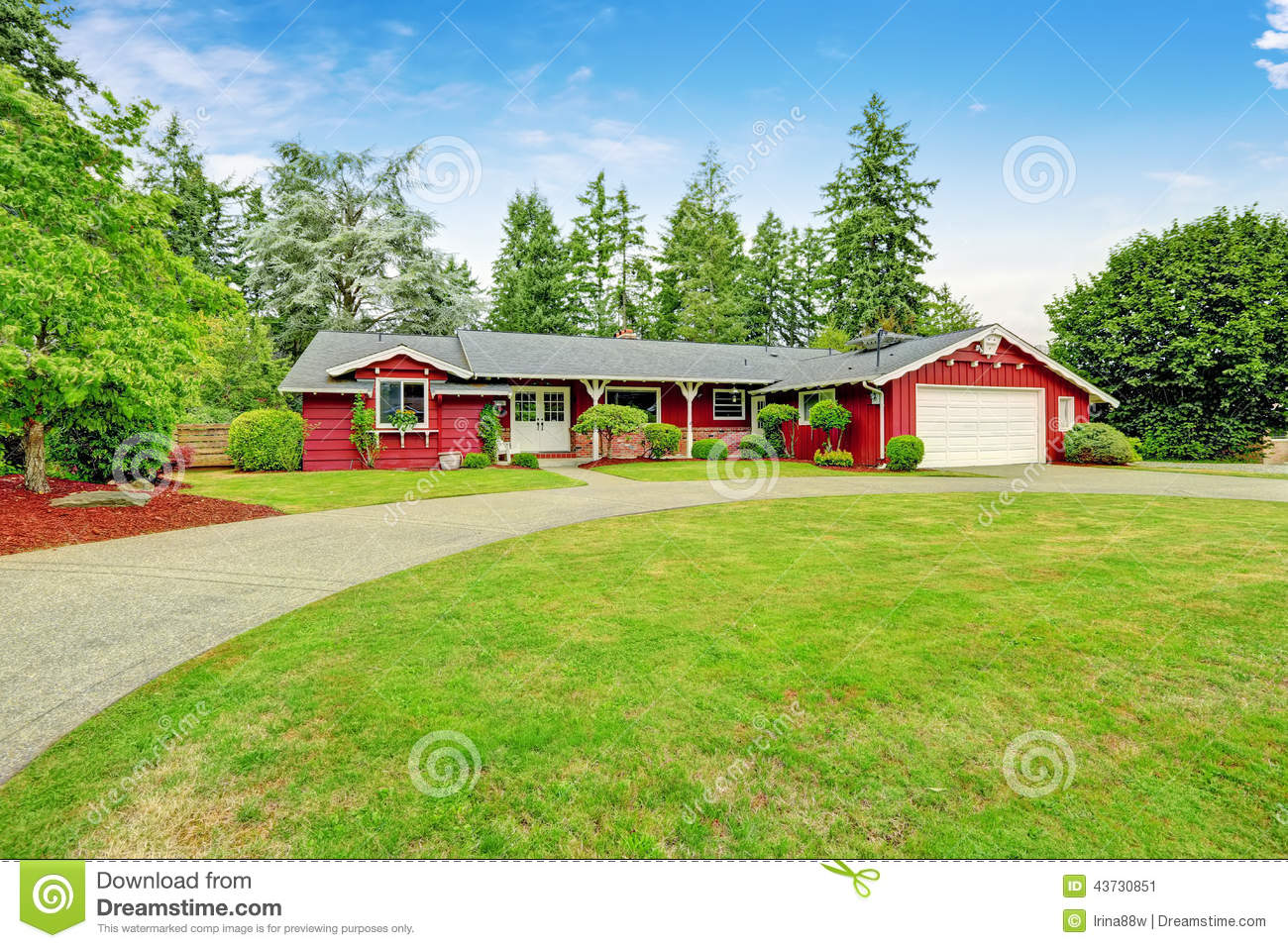 Beautiful red house with garage and curb appeal stock for American classics garage