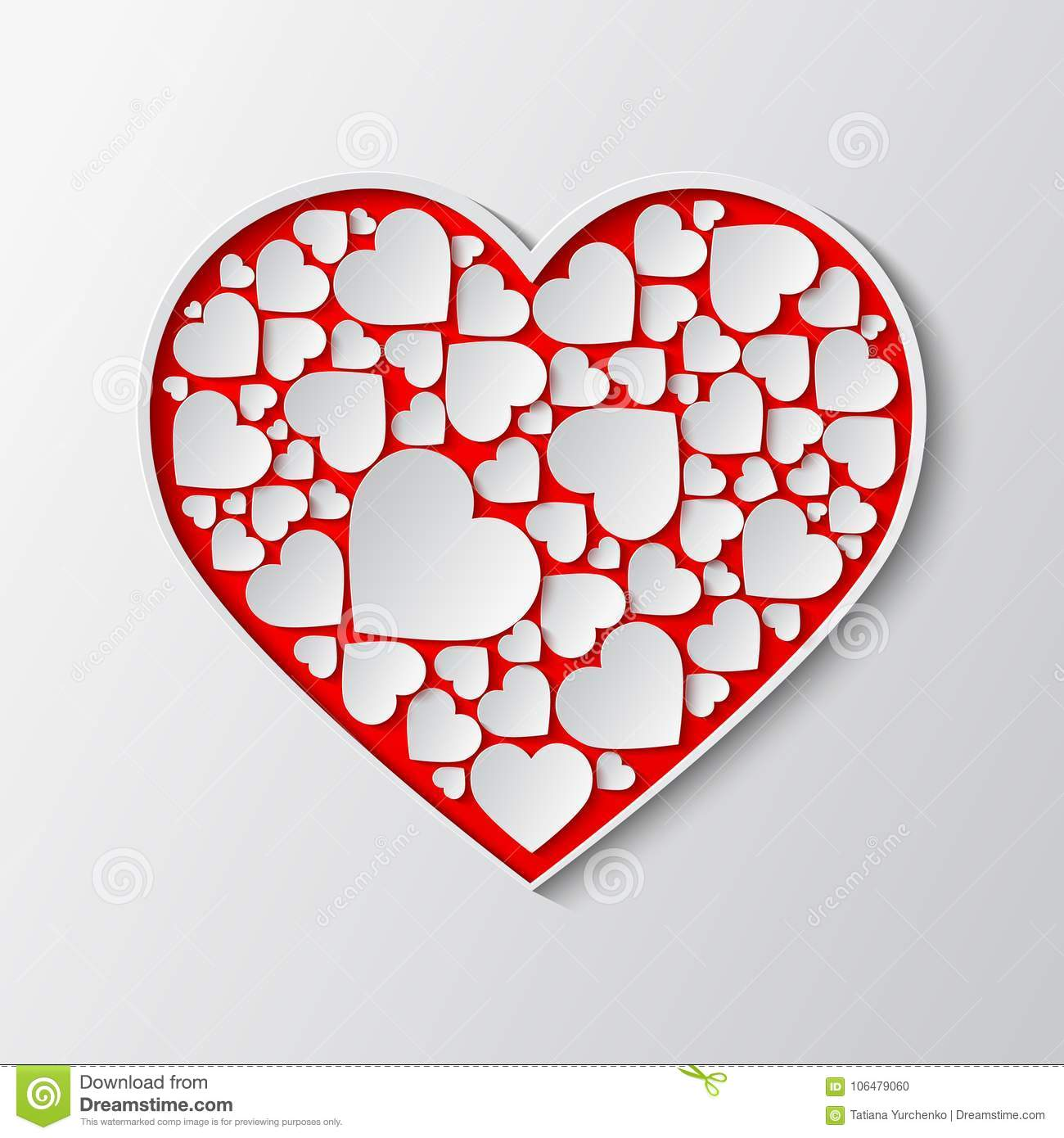 Vector Red Paper Cut Out Heart With White Frame And With Many Small ...