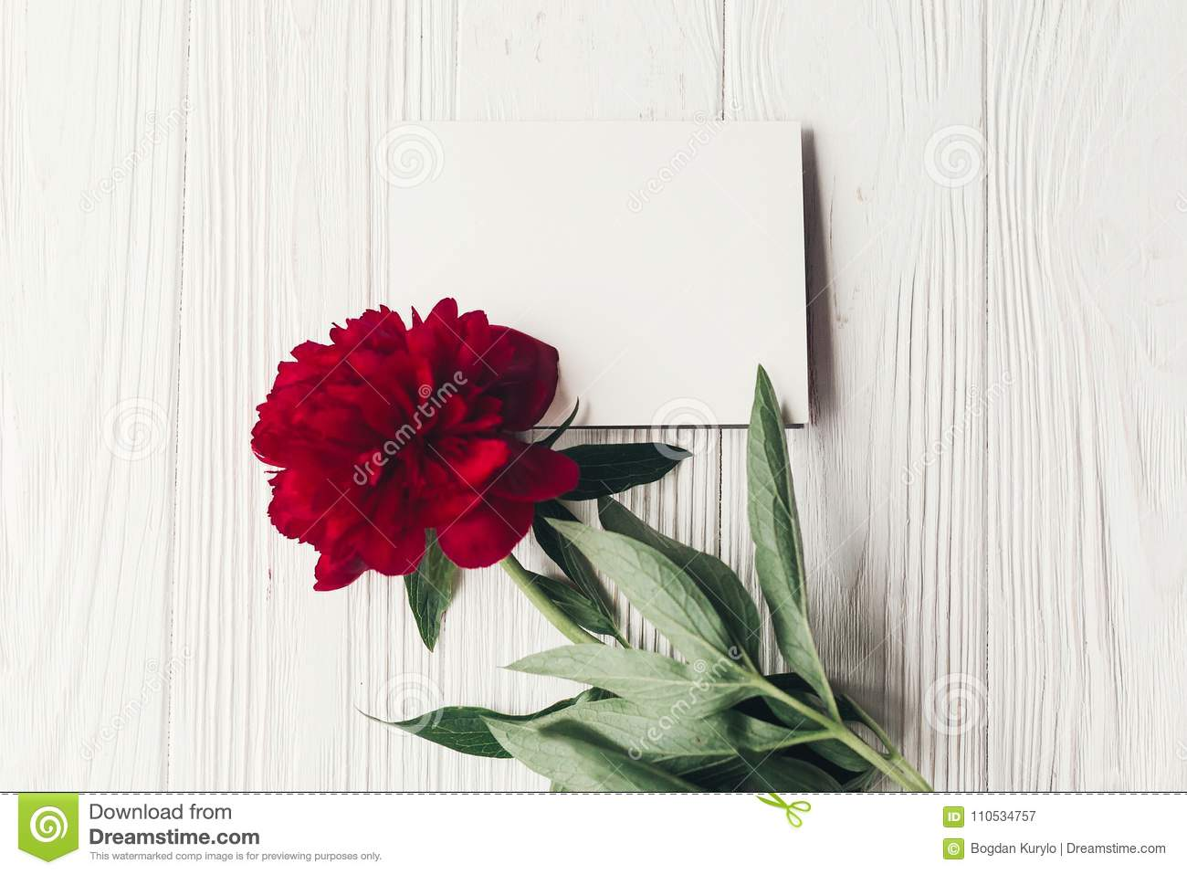 Beautiful Red Peony And Paper Card On Wooden Rustic Background F ...