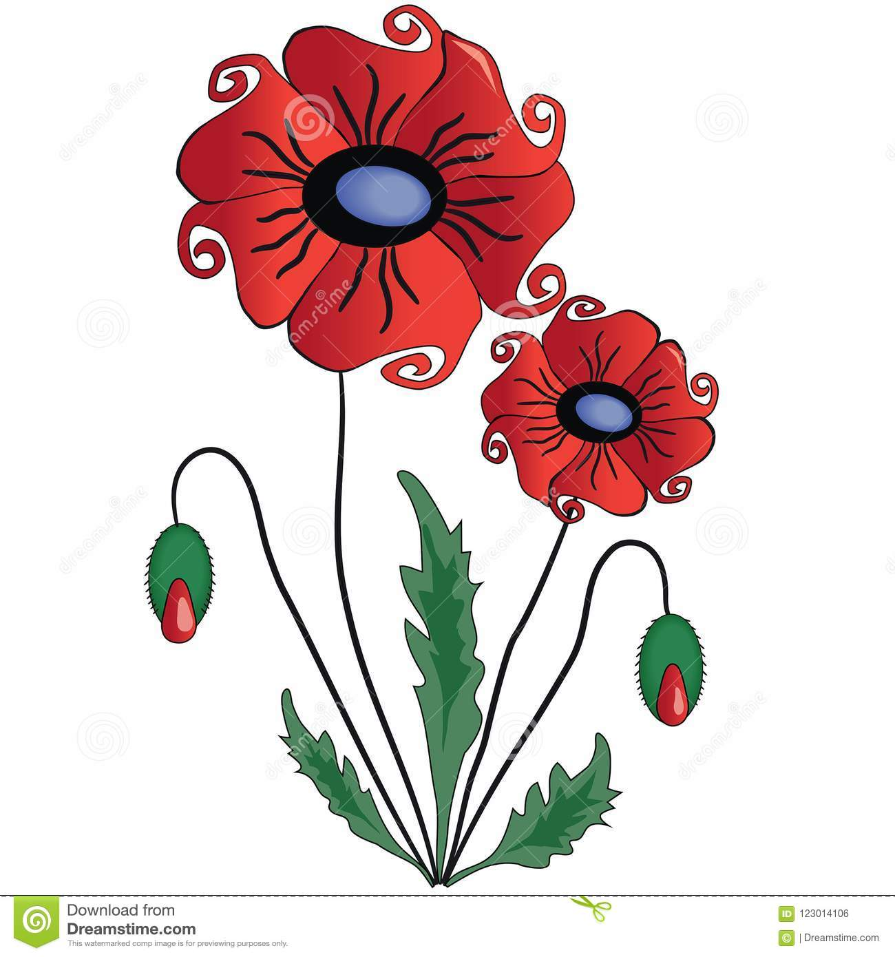 Beautiful red poppy flower with leaves stock vector illustration download beautiful red poppy flower with leaves stock vector illustration of scarlet bloody mightylinksfo