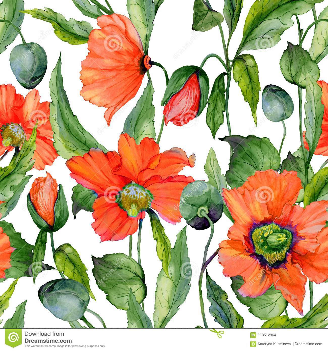 Beautiful red poppy flowers with green leaves on white background. Seamless vivid floral pattern. Watercolor painting.