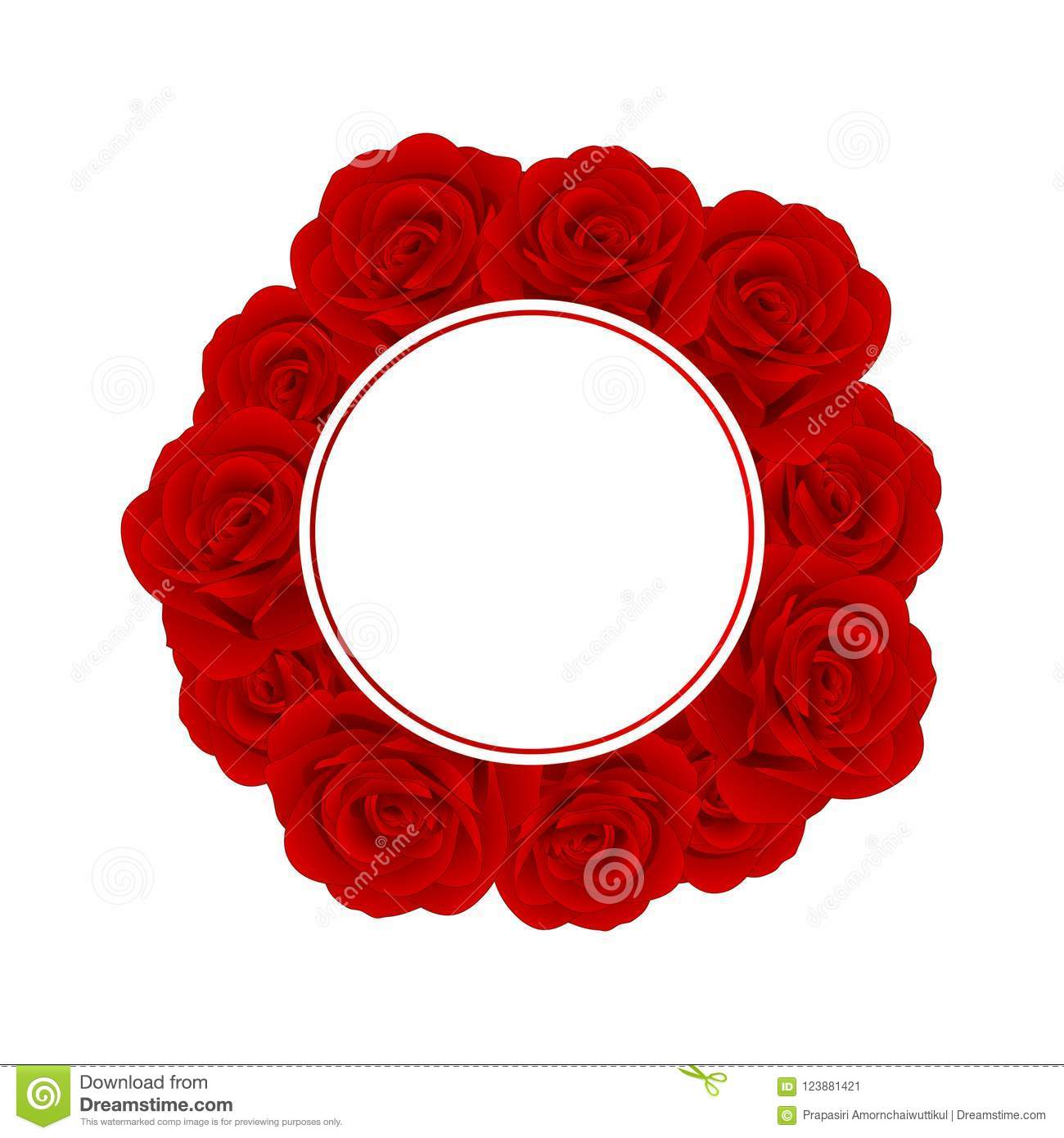 Beautiful Red Rose Banner Wreath - Rosa isolated on White Background. Valentine Day. Vector Illustration