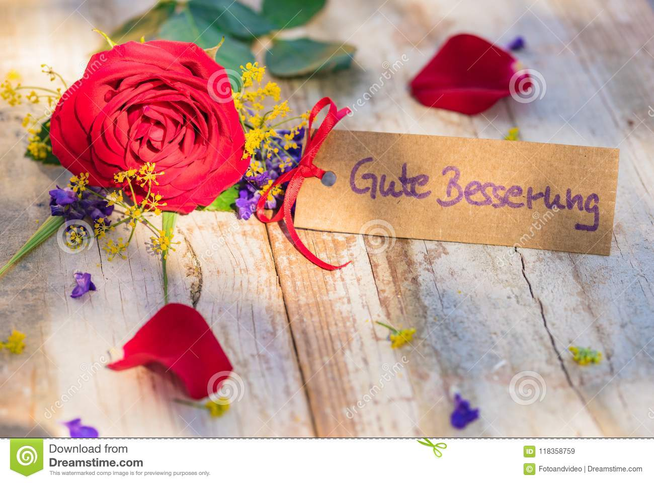 Flowers And Card With German Text Gute Besserung Means Get Well Soon Stock Image Image Of Card Soon 118358759