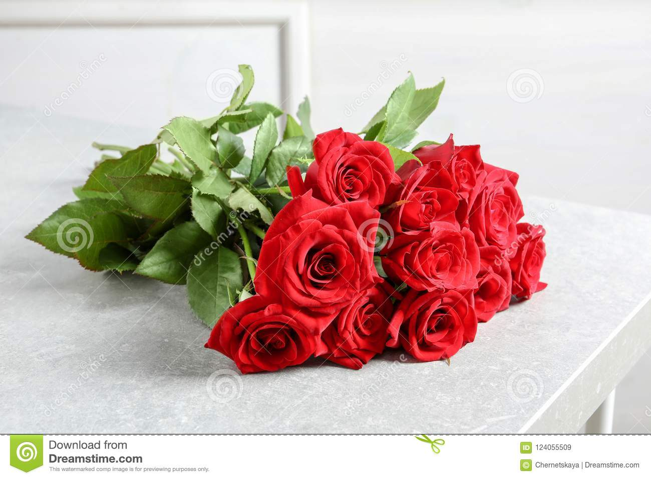 Beautiful Red Rose Flowers On Table Stock Image - Image of color ...