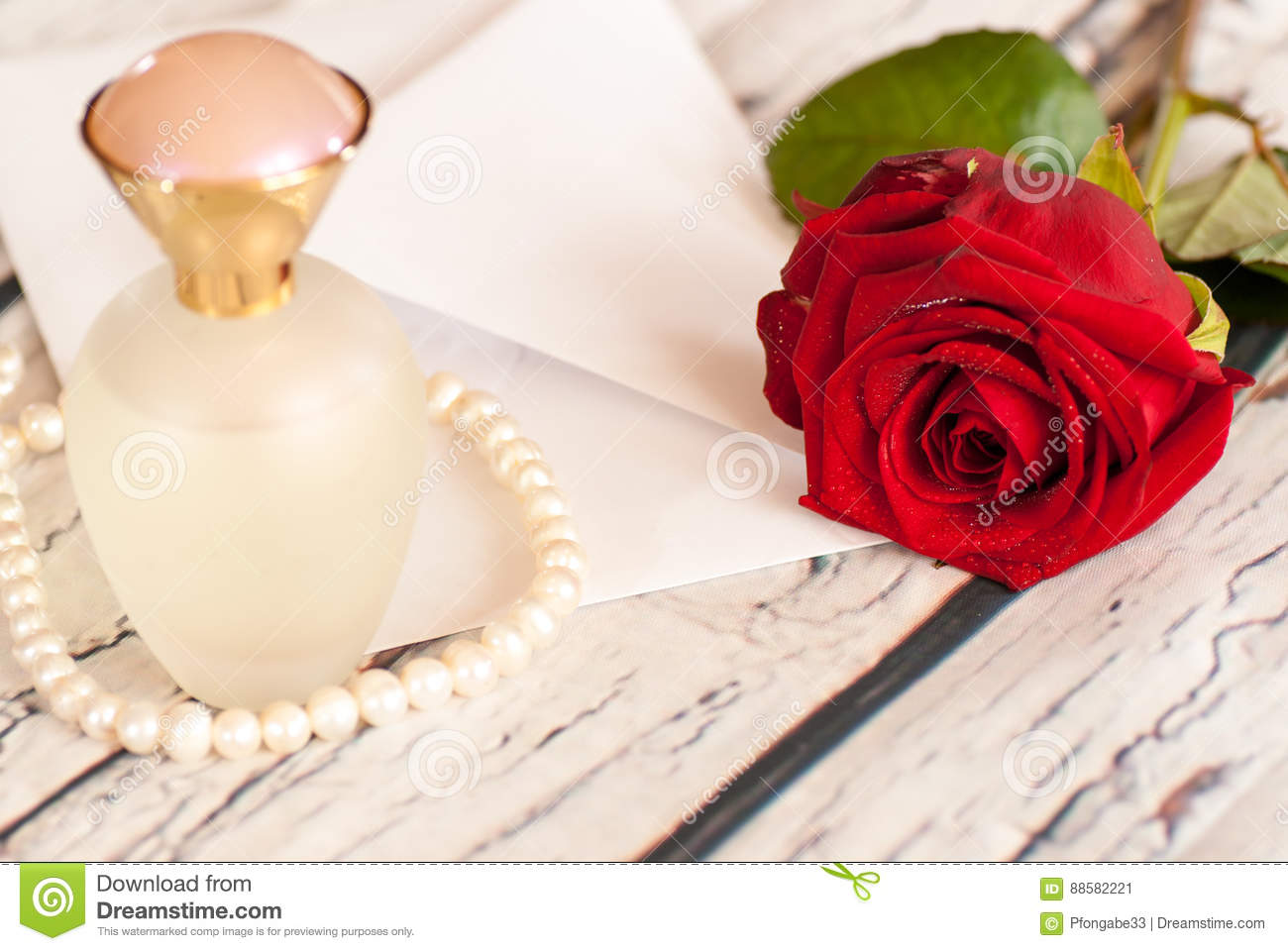 Beautiful Red Rose String Of Pearls Perfume Bottle And ...