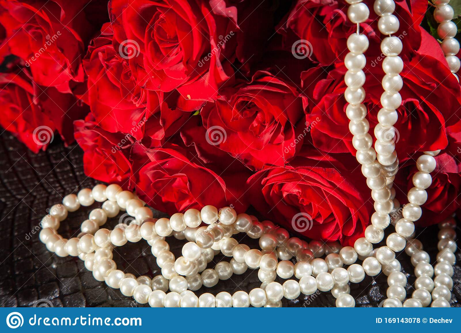 Beautiful Red Roses And White Pearls. Concept Of Beauty ...