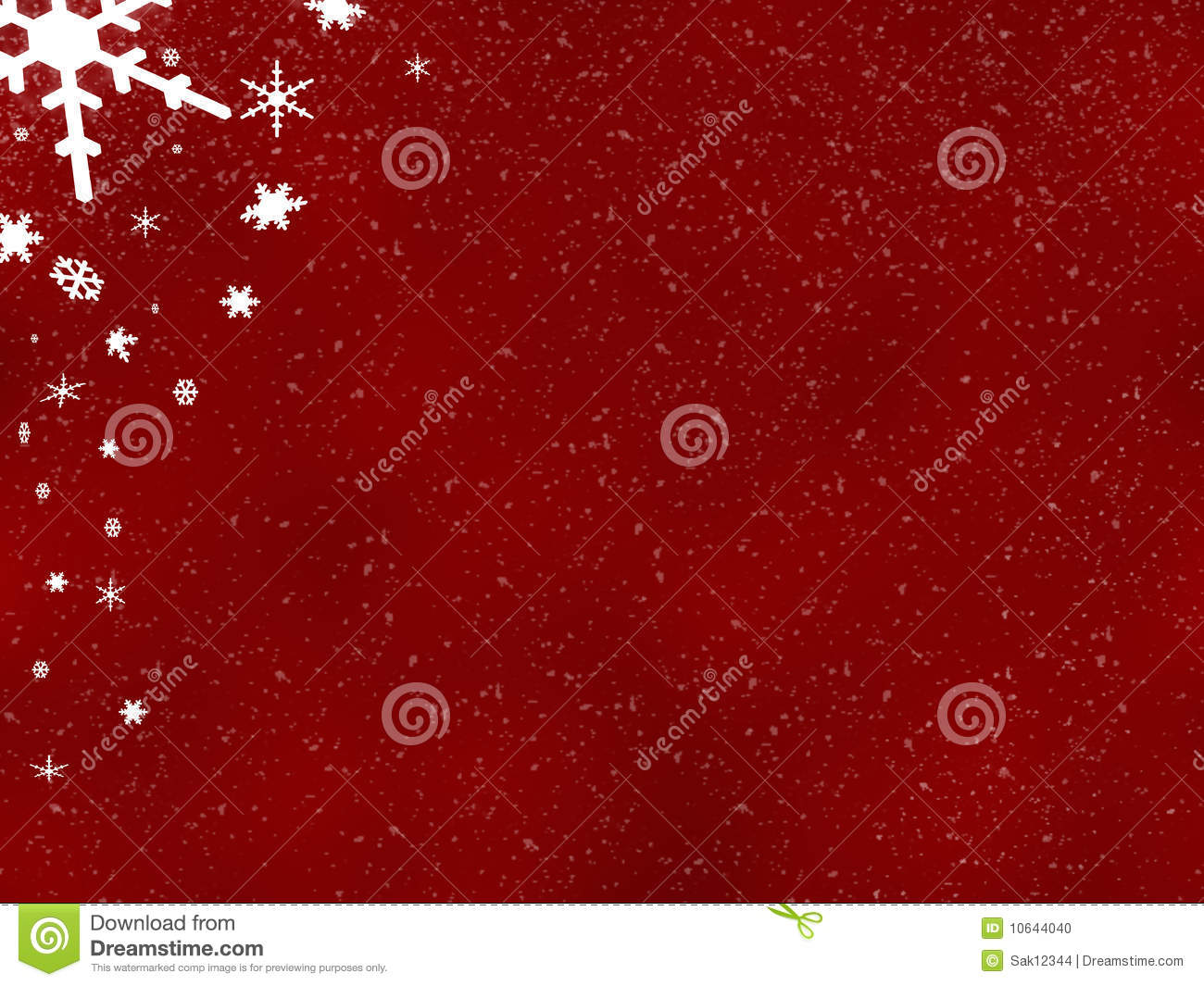 ... rendered red winter/Christmas background with falling snowflakes