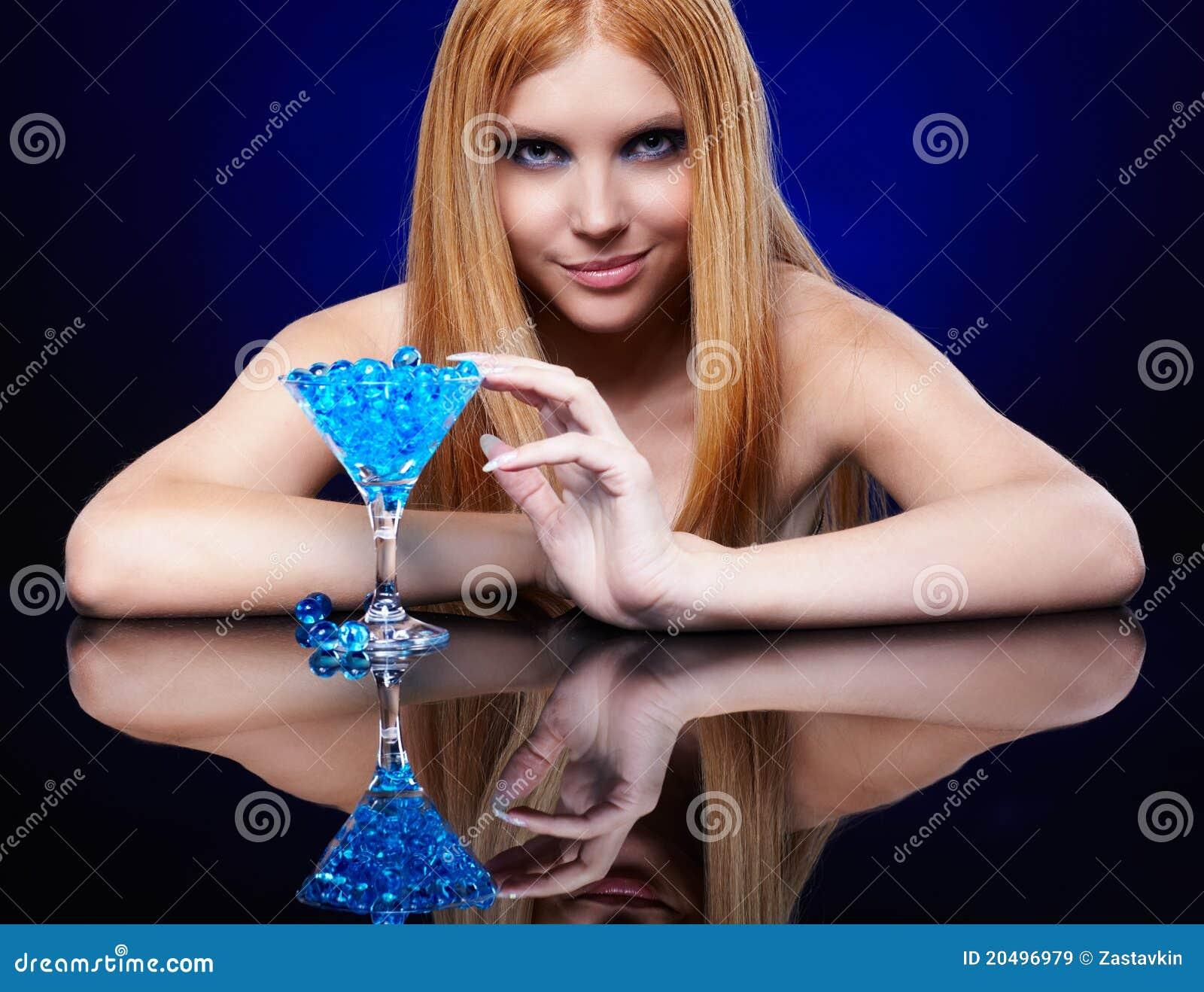 Beautiful redhead girl with gel balls