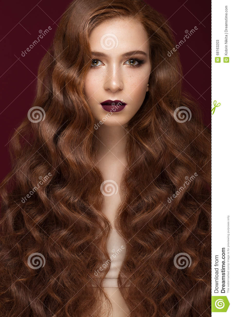 Beautiful Redhead Girl With A Perfectly Curls Hair And Classic Make