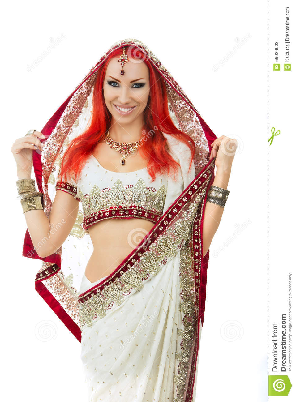 Beautiful Redhead Woman In Traditional Indian Sari -4350