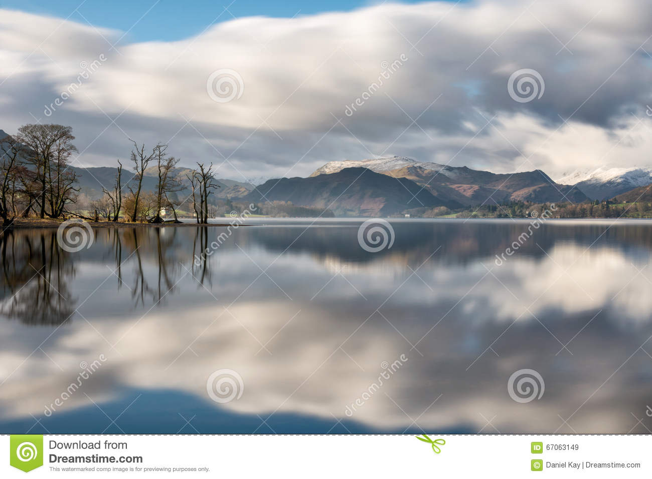 Beautiful Reflections In Lake At Ullswater In The Lake District.