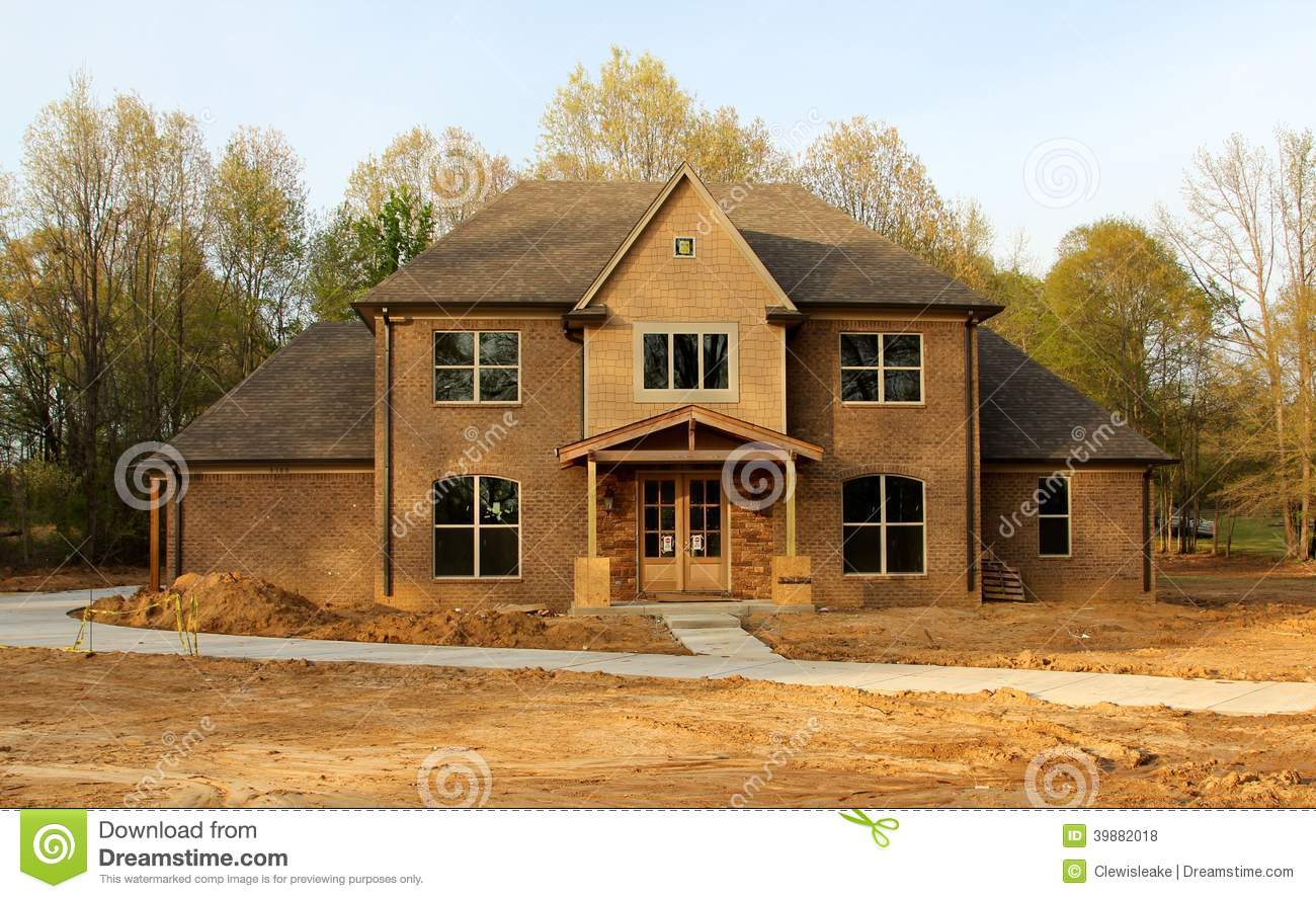 Beautiful residential house under construction stock photo for Beautiful residential houses