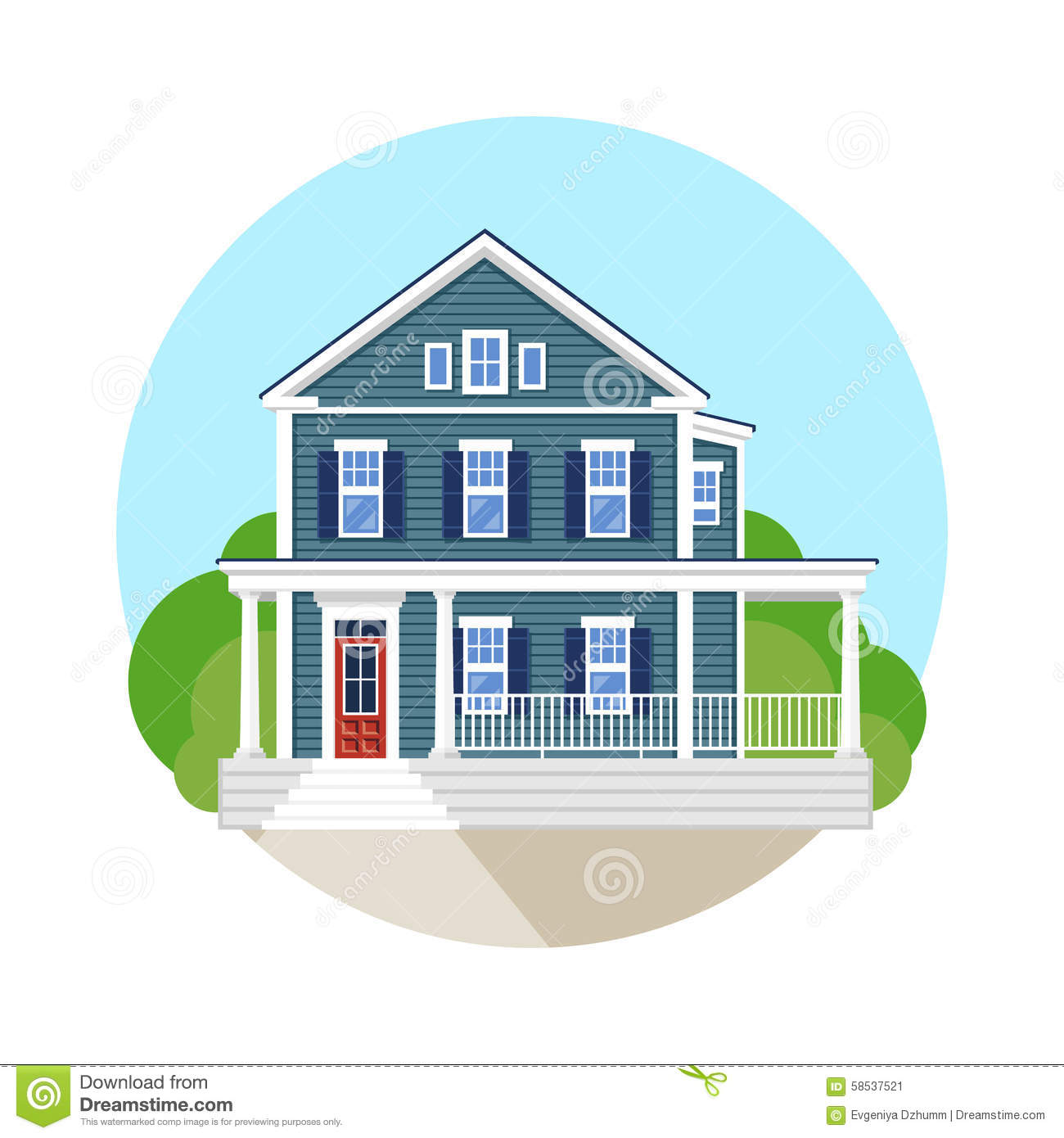 Beautiful residential house stock vector image 58537521 for Beautiful residential houses