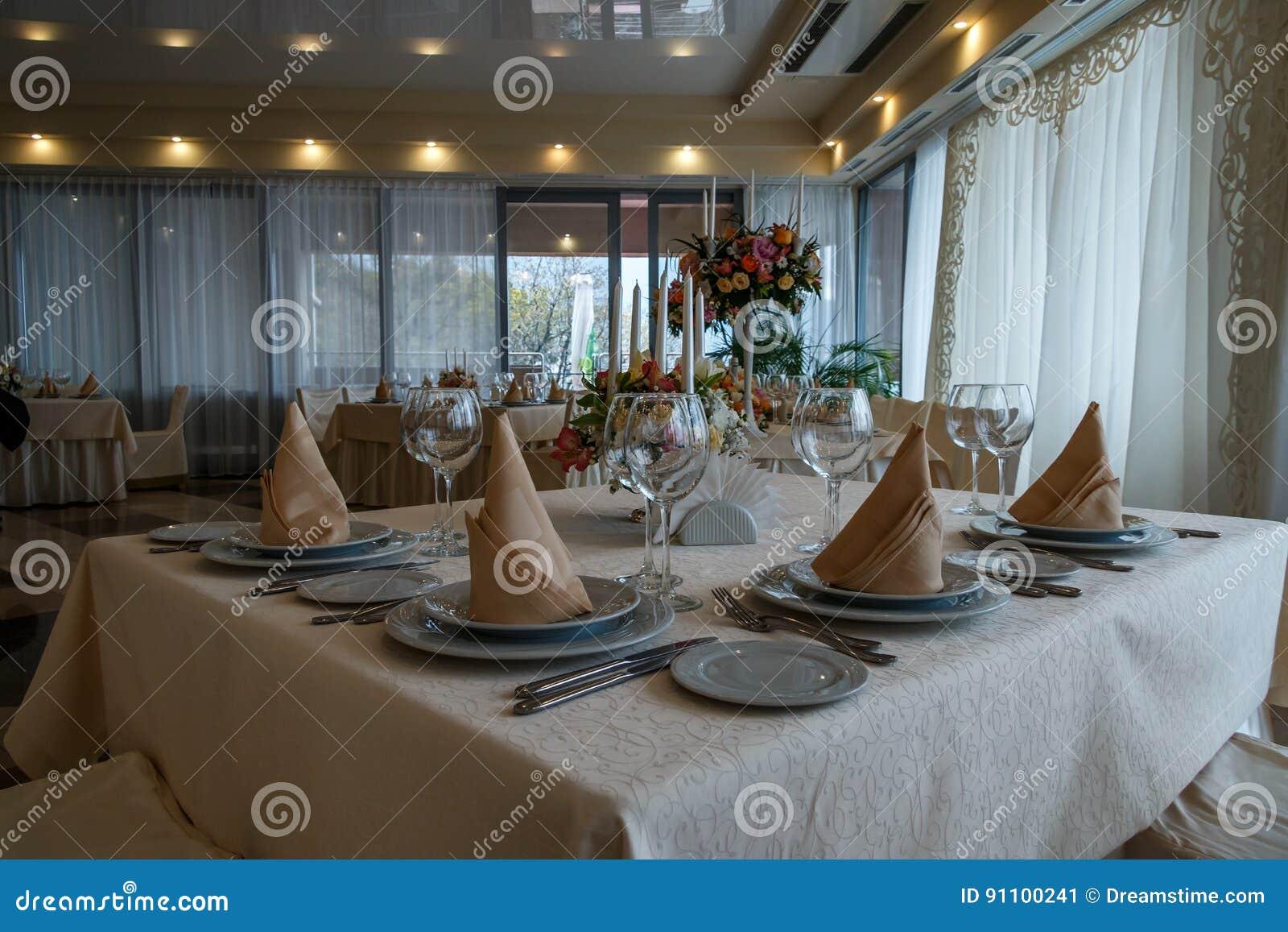 Beautiful Restaurant Interior Table Decoration For Wedding Stock