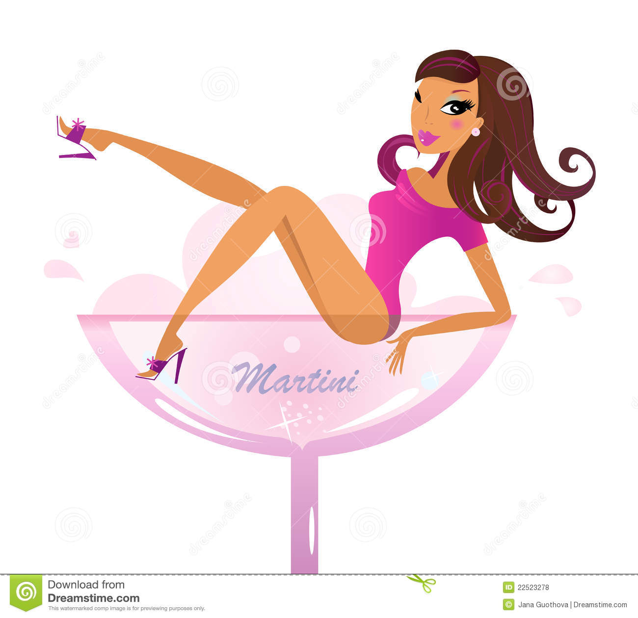 Beautiful Retro Girl In Pink Martini Glass Royalty Free Stock Photos ...