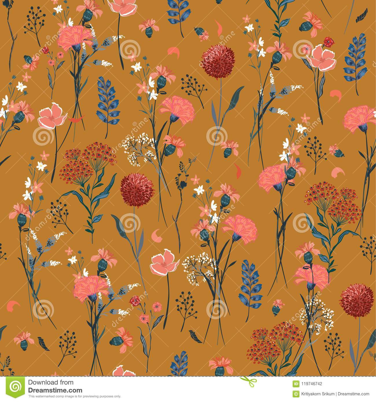 Beautiful retro meadow flowers full of blooming in many kind o