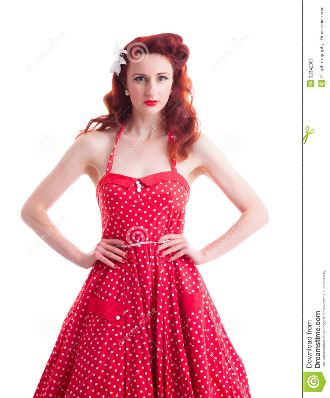 Beautiful Retro Pin-up Girl With Red Polka Dot Dress Stock Image ...