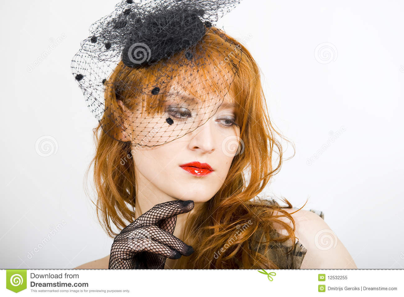 Beautiful Retro Woman With Vintage Hat And Veil Stock Image - Image ... d7651300407b