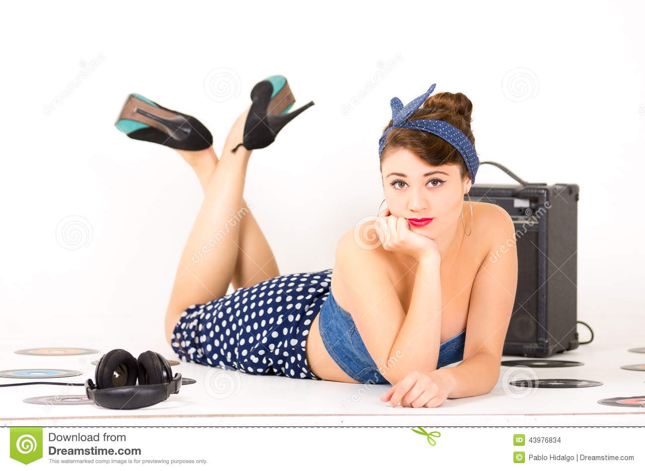 Beautiful retro young girl wearing blue vintage