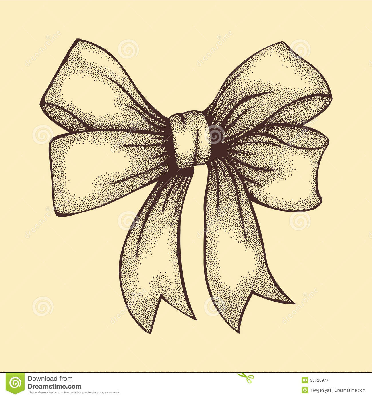 beautiful ribbon tied in bow freehand drawing in graphic style pen and ink