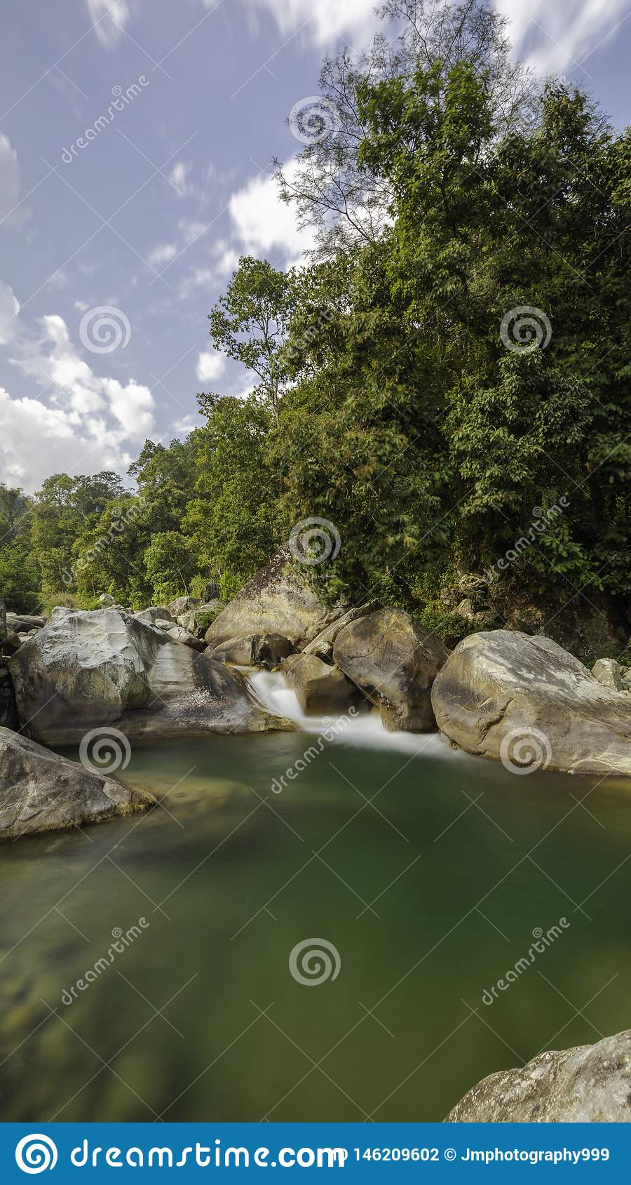 Countryside River and trees in rural area
