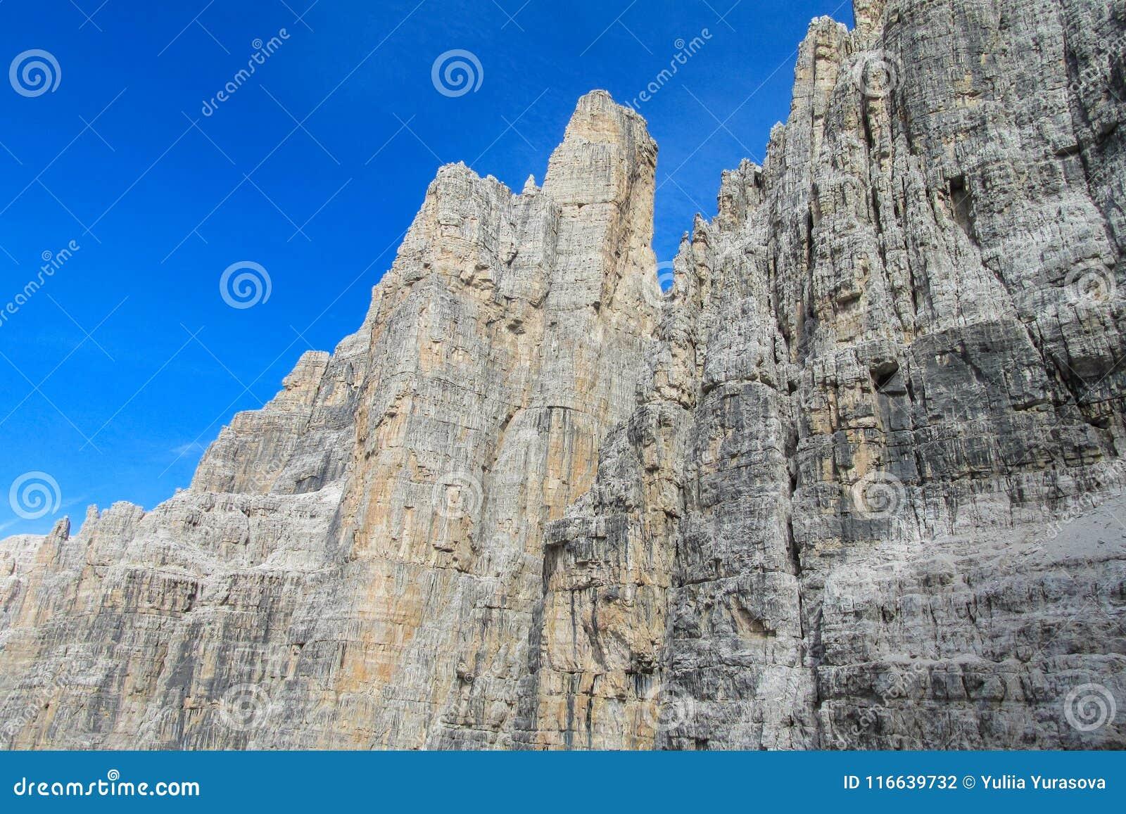 Beautiful rocky mountain wall Dolomiti di Brenta, Italy
