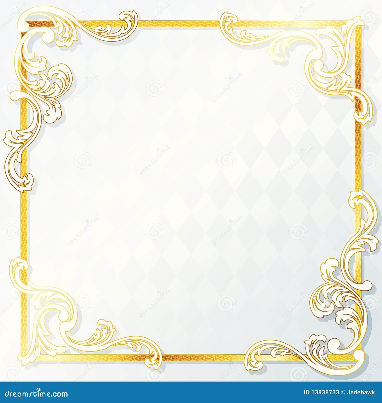 Beautiful Rococo Wedding Frame Stock Vector Illustration