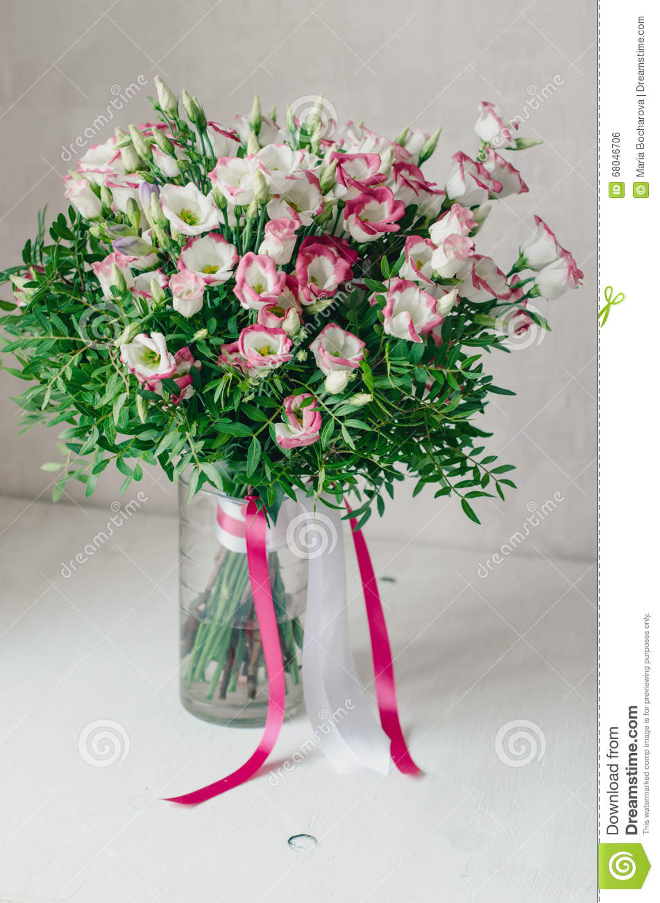 Beautiful Romantic Bouquet Of Pink And White Eustoma Flowers With
