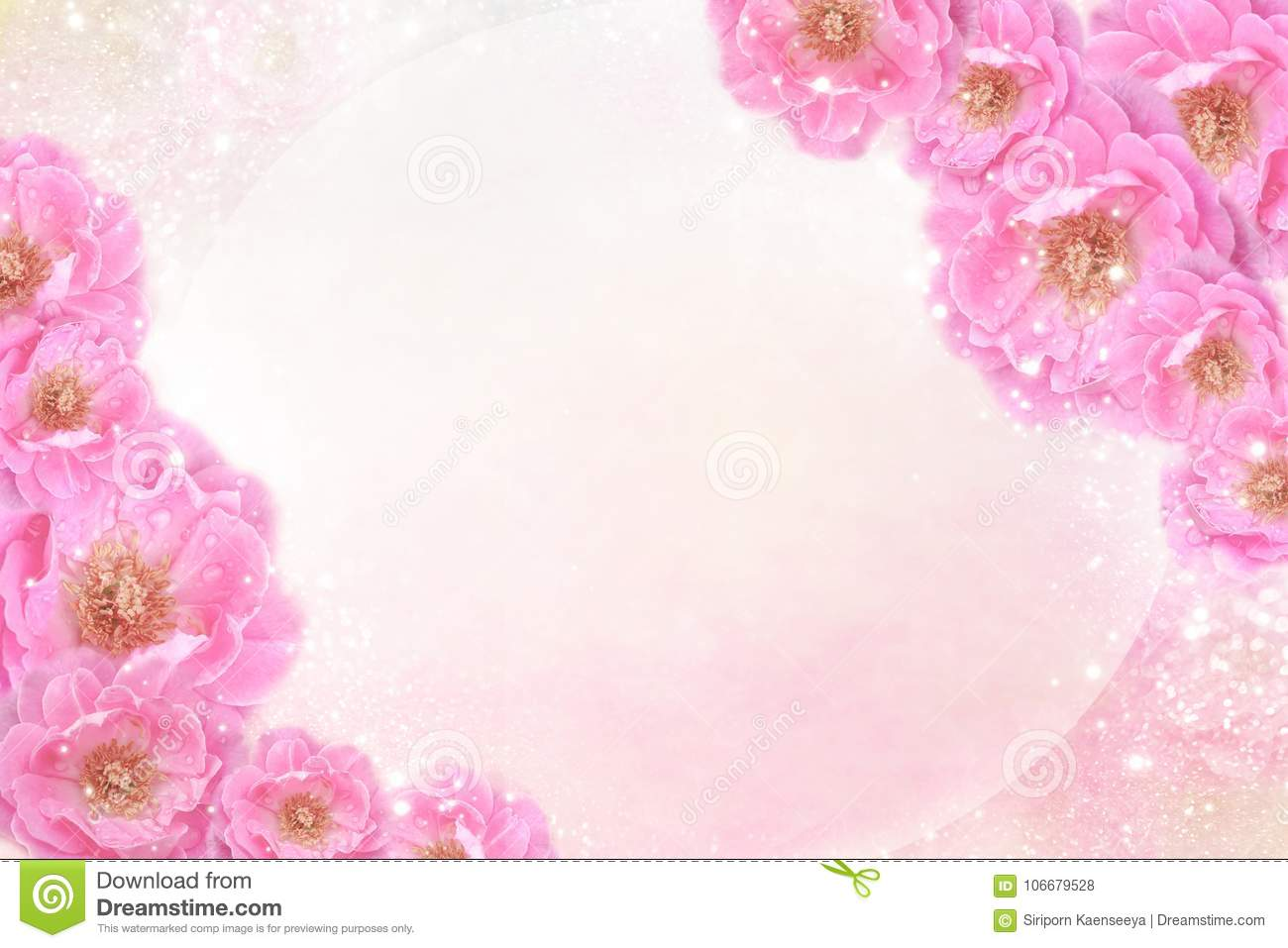 Romantic pink roses flower border on soft glitter background for valentine or wedding card in pastel tone