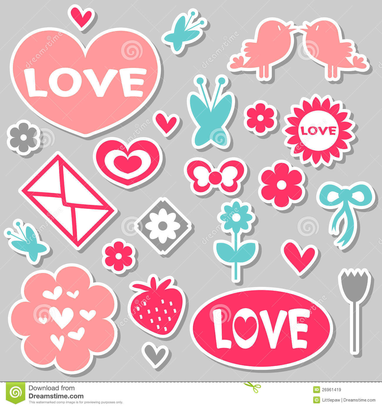 Beautiful romantic stickers