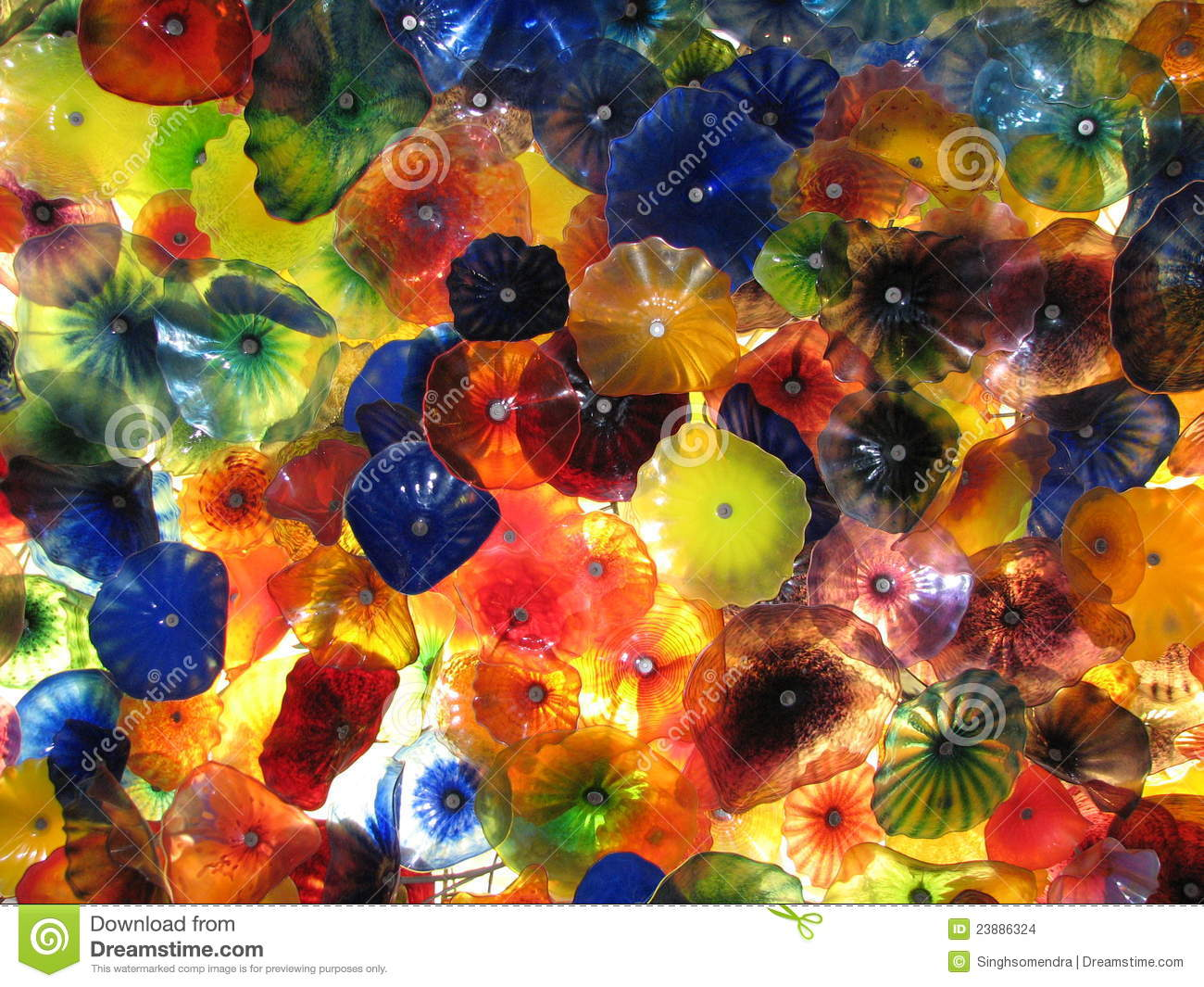 Beautiful roof made up of glass flowers in a hotel stock for Flowers made of glass